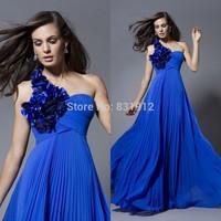 Bien Savvy 2014 Hot Royal Blue Evening Dress One Shoulder Vestidos de fiesta  Ruched Chiffon Prom Dress Formal Gown New Hot Sale