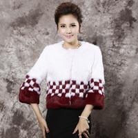 Winter new Korean version of Haining rabbit fur coat round neck short paragraph female Specials free shipping
