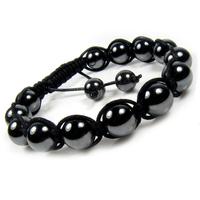New Fashion Vintage Women's Black Hematite Shamballa Style Ball Beads Semi Precious Stone Shamballa Bracelet