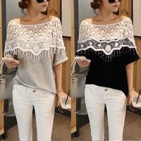 Plus Size 5XL 2014 Casual Blusas Femininas Summer Lace Women Tops Hollow Crochet Shawl Collar Blouse Shirt Renda Clothing