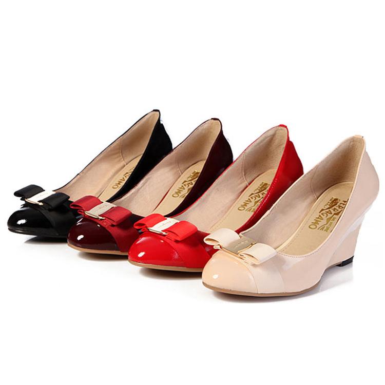 Купить Обувь  women pumps Wedges high heels genuine leather brand woman wedding valentine shoes size 3-10 sapatos femininos salto alto . DA012 None