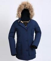 2014 Woolrich Winter Women Coat Down Warm Real Fur Hooded Down Jackets White Duck Down Thick Raccoon Parka Medium-long Coat
