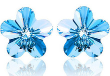 100% 925 Sterling Silver Austrian crystal earrings blue flowers FREE SHIPPING(China (Mainland))