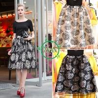 2014 Retro Long Skirt Women Floral Printed High Waist Organza Skirt Elegant European Style Swing Skirt White Black Chiffon Skirt