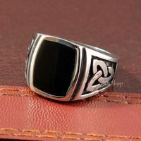 Men's Celtic Endless Infinite Knot Black Enamel Signet 316L Stainless Steel Biker Ring Silver Tone Women's Unisex Wholesale