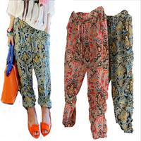 2014 new Korean version  thin printing printing large yards long pants casual pants chiffon harem pants