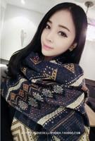 2014 new scarf women Thicken wool spinning cashmere  foulard women blue and green scarves women keep warm winter scarf blue S143