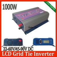 1000W LCD solar grid tie inverter with MPPT function,22-60V/45-90V DC,120/230V AC CE,RoHS ,SGS pure sine wave inverter