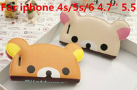 Lovely 3D Cartoon Rilakkuma Bear leather case for iPhone 4 4s 5 5s 6 6 plus 4.7inch 5.5inch Flip pouch cover H17