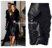 Hot Women Sexy Black Flower Ruffle Wrap Pencil Skirt Tight 4 Size S,M,L,XL