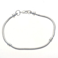 Free shipping!!!Brass European Bracelet,Designs, silver, nickel, lead & cadmium free, 3mm, Length:7 Inch, 10Strands/Bag