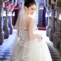 Married the bride wedding dress veil top white double layer luxury design long veil