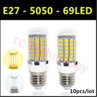 Hot 2014 Ultrabright SMD 5050 LED Lamp E27 15W AC 220V-240V 69LED Warm White/White Corn Bulb For Christmas Lights 10pcs/lot