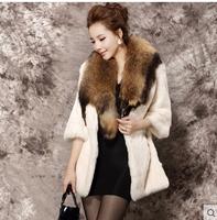 Special offer Haining rabbit fur raccoon fur collar jacket sleeve new Korean Girls long section free shipping