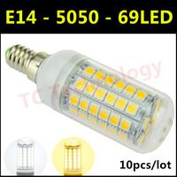 Hot 2014 New Ultrabright E14 SMD 5050 LED Lamp 15W AC 220V-240V 69LED Warm White/White Corn Bulb For Christmas Lights 10pcs/lot