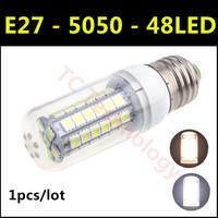 1pcs/lot Free Shipping High brightness SMD 5050 48led E27 8W LED Lamp AC 220V-240V Warm White/White Corn Bulb Christmas Lights
