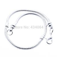 Free shipping!!!Brass European Bracelet,Diy, silver, nickel, lead & cadmium free, 3mm, Length:8 Inch, 10Strands/Bag, Sold By Bag