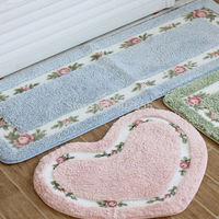 Bedroom Carpet Cute Flower Print Pastoral Style Heart Rectangle Shape Tapete Bathroom Absorbent Rug Non-slip Mats Carpet