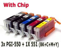 7 ink cartridge (1set+2BK) Compatible PGI-550 CLI-551 for Canon printer Pixma MG6350 MG6450