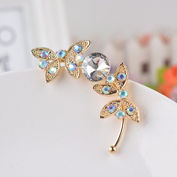 Новый изысканный fashion-позолоченные хрустальные бабочка серьги