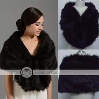 New In Stock Elegant Wedding Shawls and Wraps Bridal Jacket Coat Bolero Wraps Black Faux Fur Wraps Shrug In Winter 17002