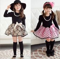 Baby Girl Cute Plaid Dot Bow Dresses, Princess Kids Elegant Long Sleeve Spring Wear  Wholesale 5 pcs/lot,