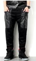Fashion Big Zipper Pu Pocket Harem Pants Sport Jogger Sweat Pants