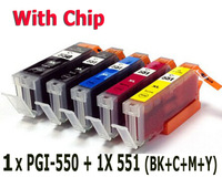 5 ink cartridge ( 1set ) compatible PGI-550 BK CLI-551 for canon Printer Pixma MX925 MX725 MG5450 MG5550 MG6350 MG6450 IP7250