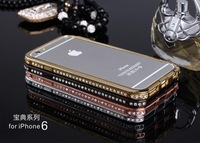 TOP Diamond Bumper Metal Crystal Case for phone6 Snake Button Print Luxury Rhinestone Fashion Delicate Frame Cover
