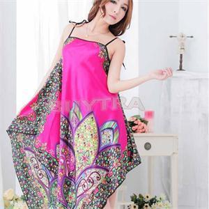 New Women High Quality Sexy Hot Elegant Pajamas Silk Baby Dolls Floral Pattern Ladies Lace Nice Sleepwear Rose Yellow Colors(China (Mainland))