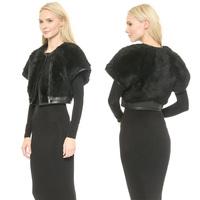 Women Short Jackets Pocket PU Patchwork O-Neck Zipper Novelty Faux Fur Winter Jackets 2014 New Fashionable Jackets Free Shipping