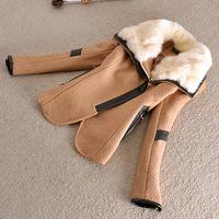 New Korean Style Classic Women rabbit Collar Fur lining Woolen Warm Coat Wool & Blends Thicken Outerwear woolen cloth Winterwear