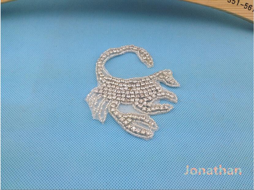 Wholesale Crystal Bridal Sash,Rhinestone Trimming For Wedding Belts and Sashes Bridal Motif Silver Crystal Rhinestone Applique(China (Mainland))