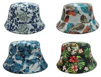 outdoor women flat flower fishing caps hip hop men print feather Bucket Hats