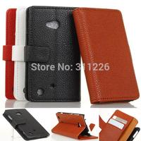 Brown Wallet Flip Leather Cover Case + Screen Protector for Nokia Lumia 720 e