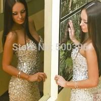 Vestido De Festa 2015 Fashionable Cocktail Party Dress Sexy Backless Luxury Crystal Mini Cocktail Dress