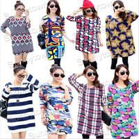 Plus size 2014 autumn winter casual loose blouse shirts patchwork graffiti striped Letter print long sleeve t-shirt woman