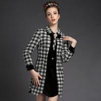 S-5XL Brand new Ladies Black White Plaid Long Sleeve Slim Women Woolen casual Dresses Autumn Winter Fashion Plus Size Clothing