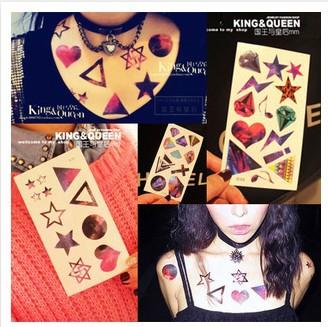 Wholesale multi-styles U choose Magic Dazzle The Stars Moon Sky Star Diamond Cross Temporary Tattoo Stickers body arm art tatoo(China (Mainland))
