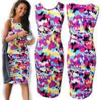 2014 New summer Fashion Women Celeb Bodycon Dress Summer Splash Floral Print Sleeveless Midi Dresses Ladies Casual Vestidos D178
