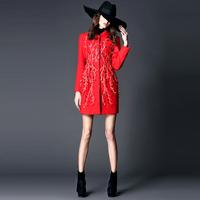 112623   Fashion high quality handmade three-dimensional petals ziziphus cutout mesh slim wool overcoat
