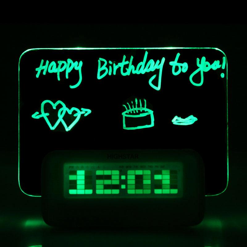New Hot Blue LED Fluorescent Message Board Digital Alarm Clock Calendar Night Green/Blue light(China (Mainland))
