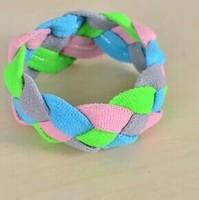 100Pcs/Lot Fashion Polyester Bracelets Sport 3 Weaving Bracelets Free Shipping