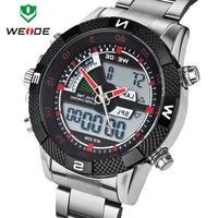 Dual Time Display Date Week  3ATM Watches Men LED Luminous Analog Digital Stainless Steel Wristwatch Original WEIDEI