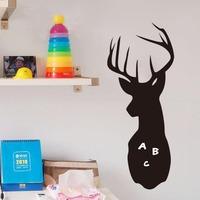 Cute deer shape waterproof DIY blackboard wooden chalkboard  Removable Wall Sticker Decal board eraser and quadro negro