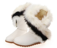 2015 HOT Style Artificial Fox Rabbit Design Fur Womens Snow Fashion Winter Warm Ankle Boots Autumn High Rubber Suede Shoes 36-43
