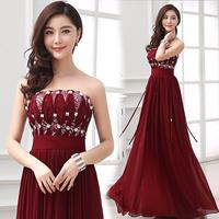 New  Elegant Tube Top Party Evening Dress Formal Purplish Red Burgundy Dark Red Long Sequined Dress Strapless Dress Under $50