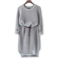 Simple wild retro vertical stripes knit silk slim sweater dress winter girl decorative belts