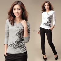High Quality Printed T Shirt Casual Tops Long Sleeve Women Clothing Plus Size Winter V-neck Free Shipping Gray/White Cotton B16
