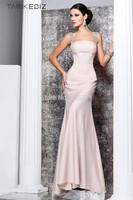 Tarik Ediz Straps Crystals Open Back Long Evening Dress Full Guaranteed Mermaid Pink New Bandage Dress 2013 New Arrival
